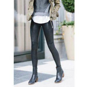 Spanx Black Faux Leather Coated Moto Leggings